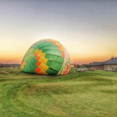 Big little planet - beautiful day at golf course. #golf #course #big #little #planet #surreal #sunset #balloon #work #sunnyday #poland